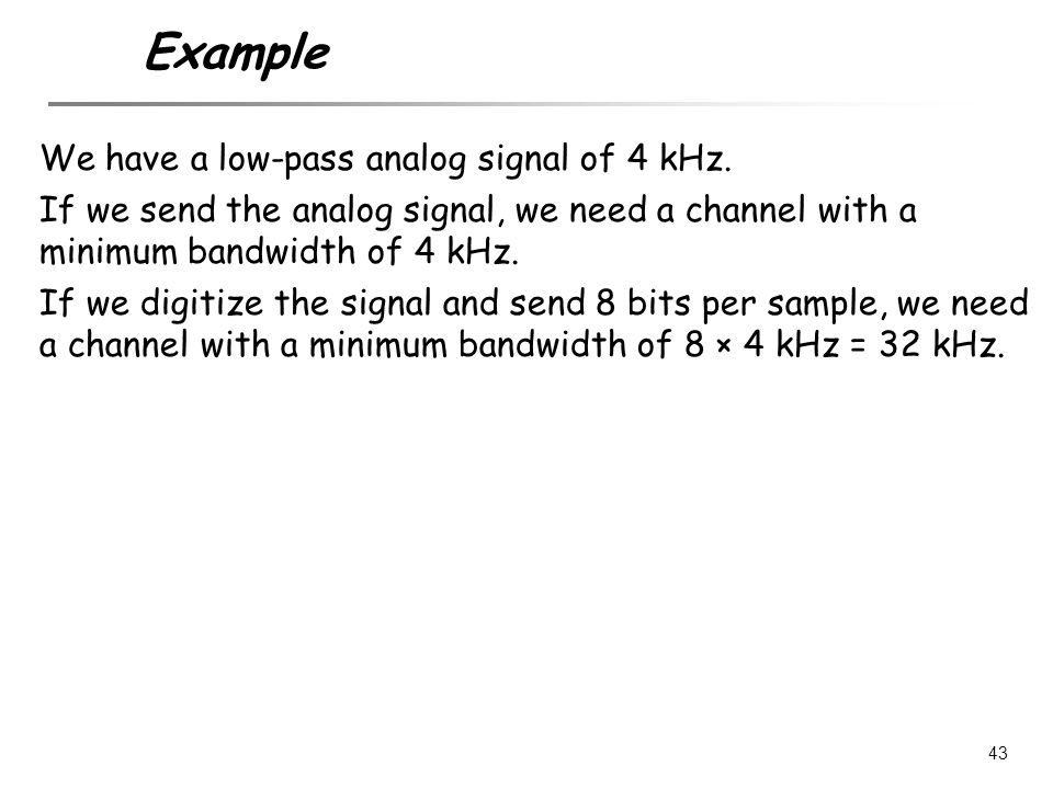 Example We have a low-pass analog signal of 4 kHz.