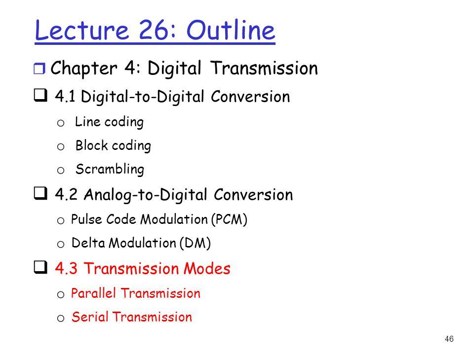 Lecture 26: Outline Chapter 4: Digital Transmission