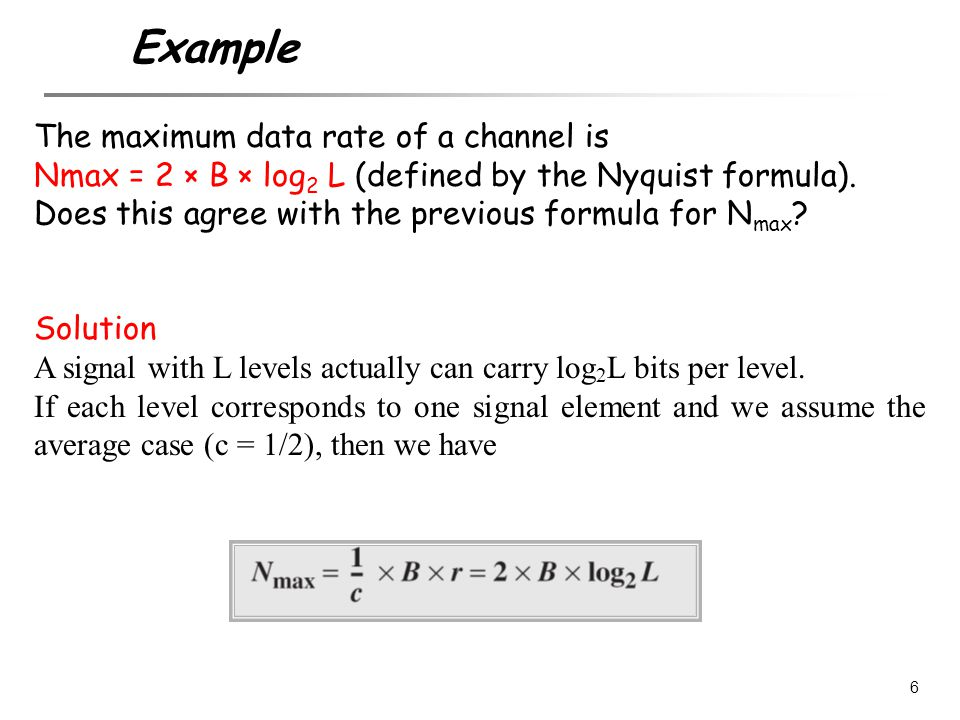 Example The maximum data rate of a channel is