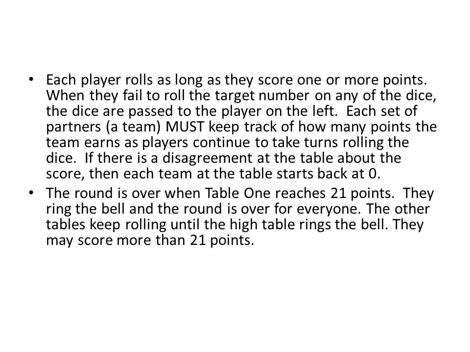 Each player rolls as long as they score one or more points