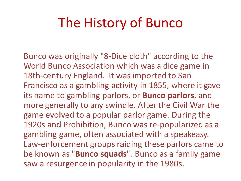 The History of Bunco