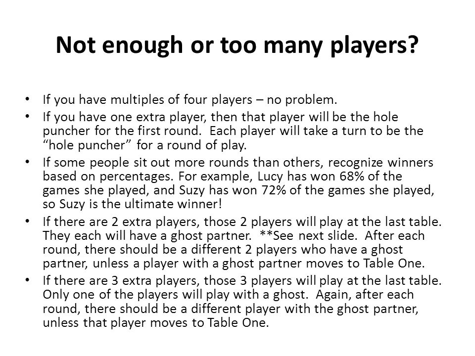 Not enough or too many players
