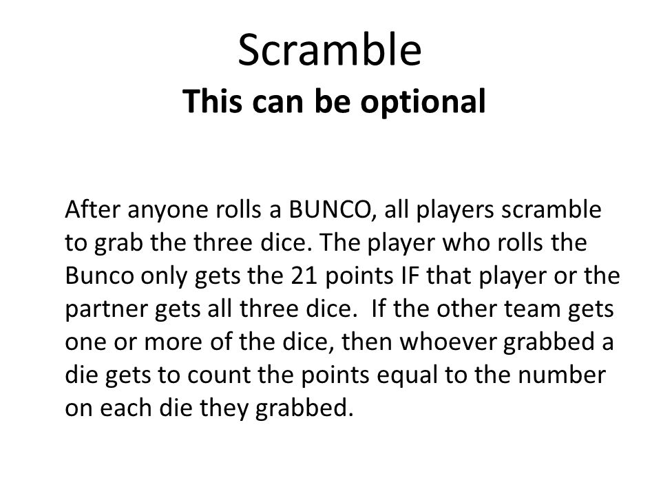 Scramble This can be optional