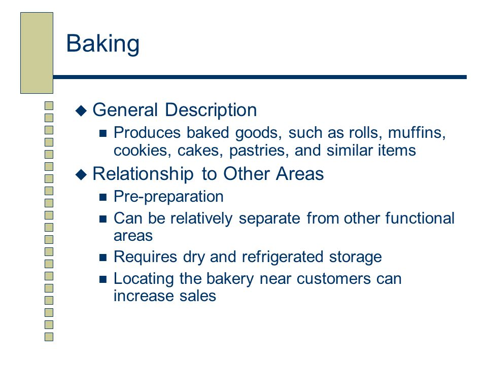 Baking General Description Relationship to Other Areas