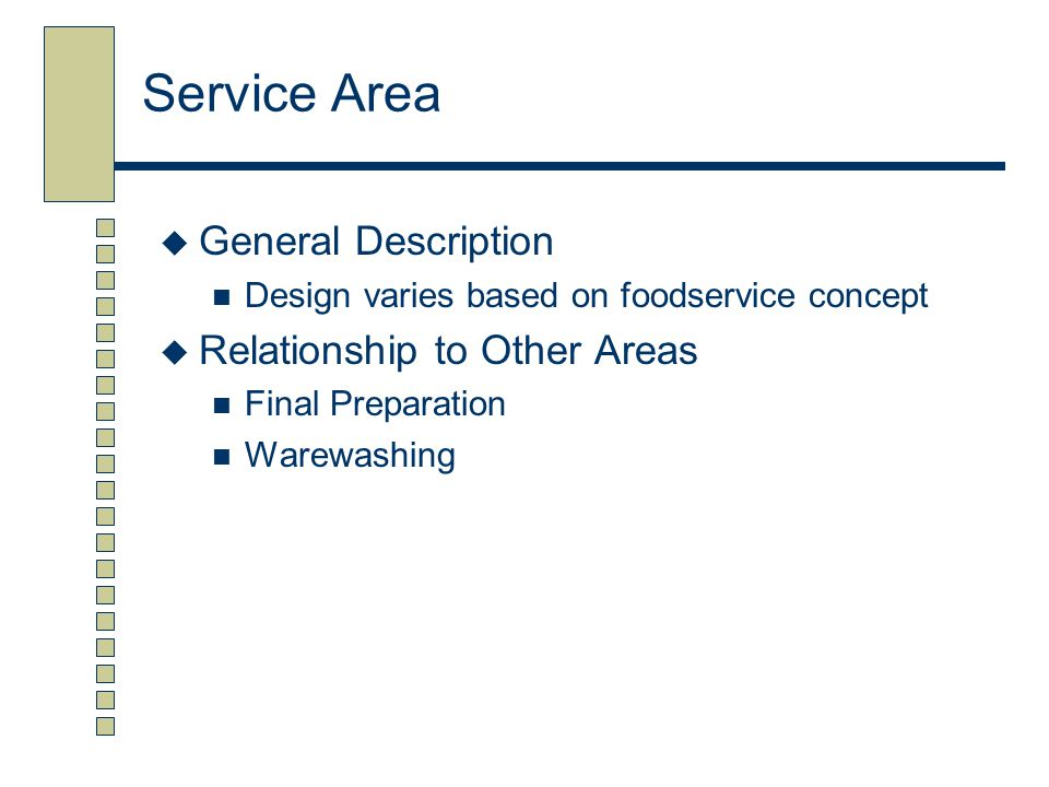 Service Area General Description Relationship to Other Areas