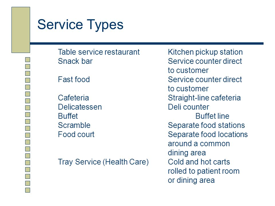 Service Types Table service restaurant Kitchen pickup station
