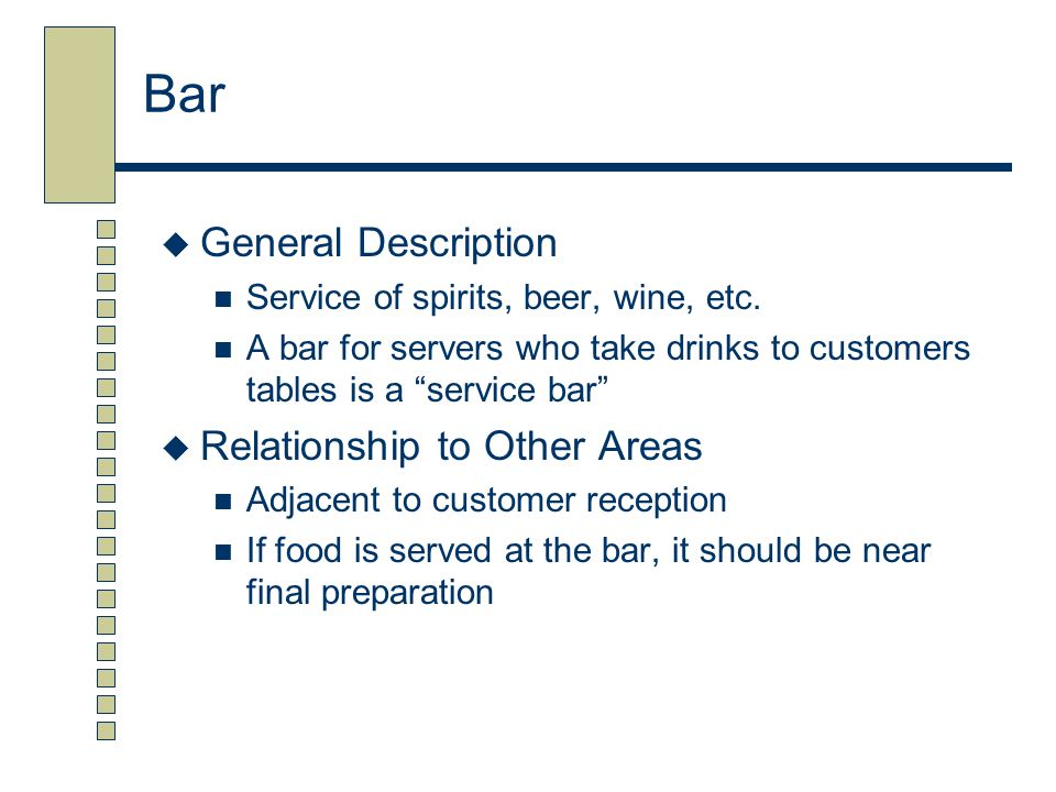 Bar General Description Relationship to Other Areas