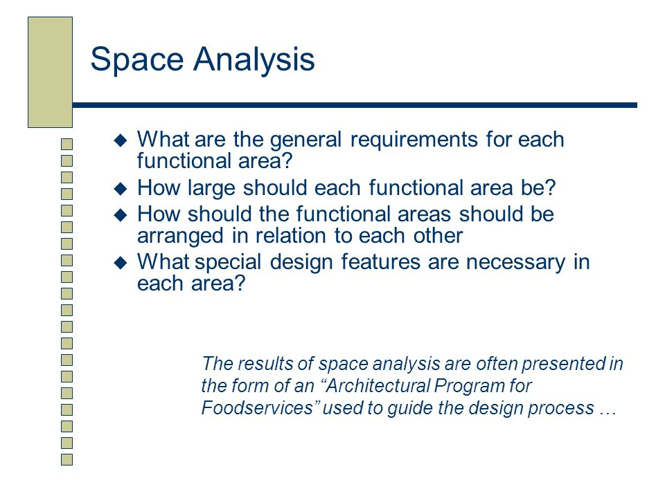 Space Analysis What are the general requirements for each functional area How large should each functional area be