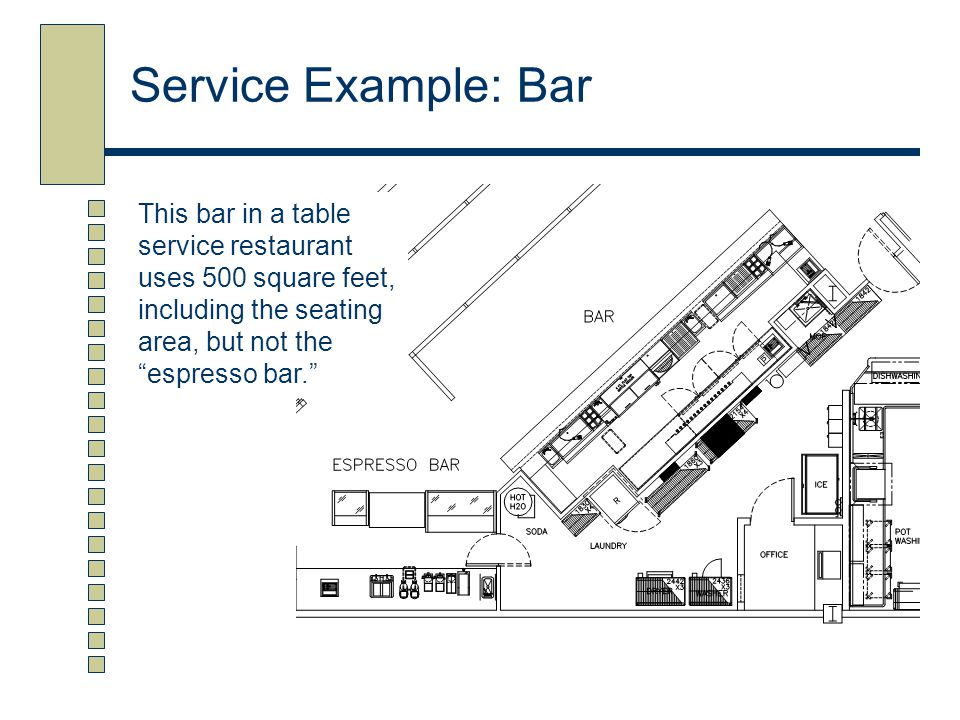 Service Example: Bar This bar in a table service restaurant uses 500 square feet, including the seating area, but not the espresso bar.