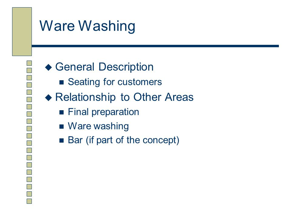 Ware Washing General Description Relationship to Other Areas