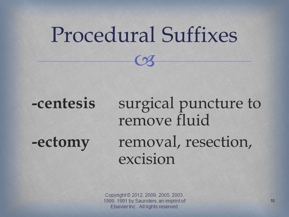 Procedural Suffixes -centesis surgical puncture to remove fluid -ectomy removal, resection, excision