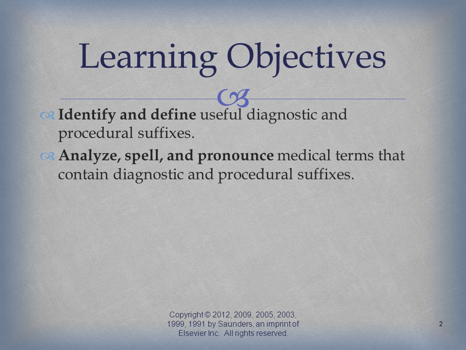 Learning Objectives Identify and define useful diagnostic and procedural suffixes.
