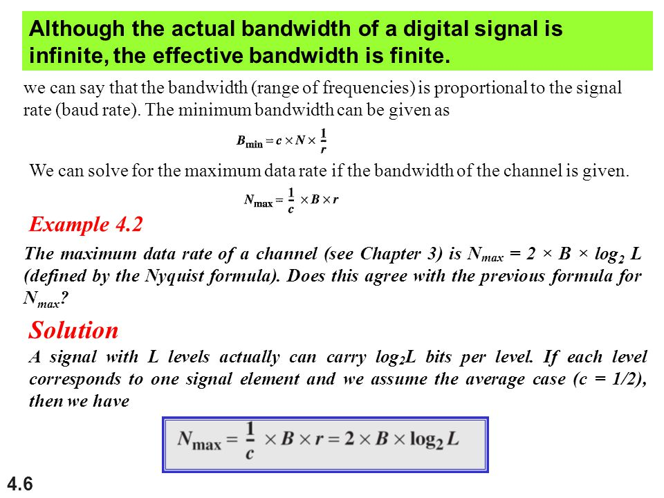 Although the actual bandwidth of a digital signal is infinite, the effective bandwidth is finite.