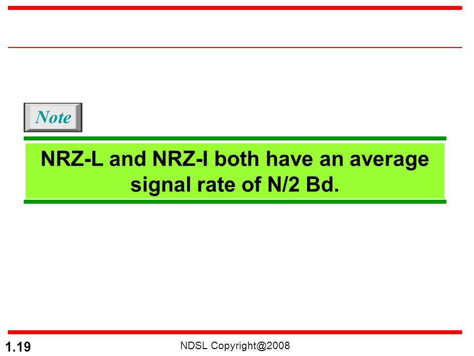 NRZ-L and NRZ-I both have an average signal rate of N/2 Bd.