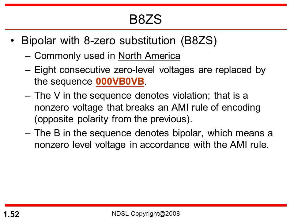 B8ZS Bipolar with 8-zero substitution (B8ZS)