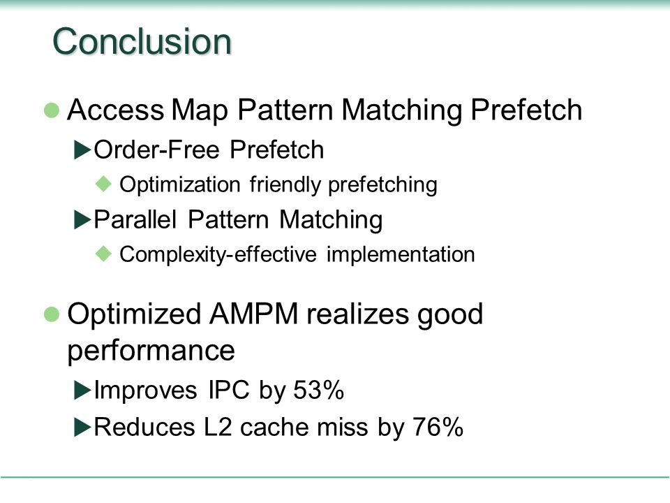 Conclusion Access Map Pattern Matching Prefetch