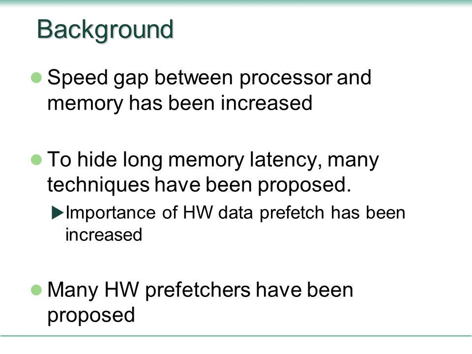 Background Speed gap between processor and memory has been increased