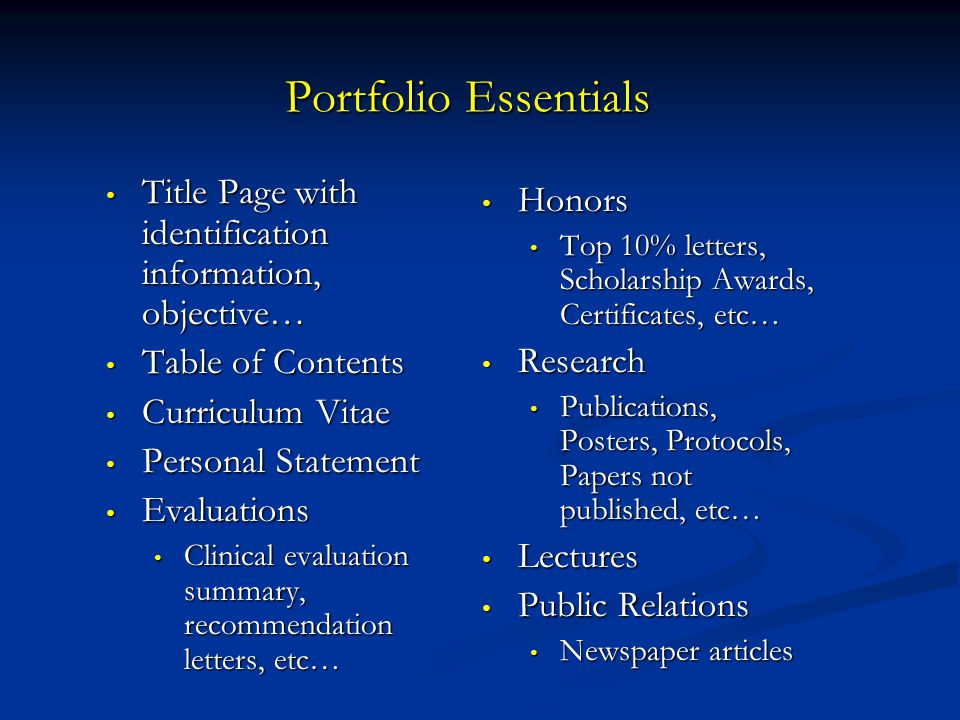 Portfolio Essentials Title Page with identification information, objective… Table of Contents. Curriculum Vitae.