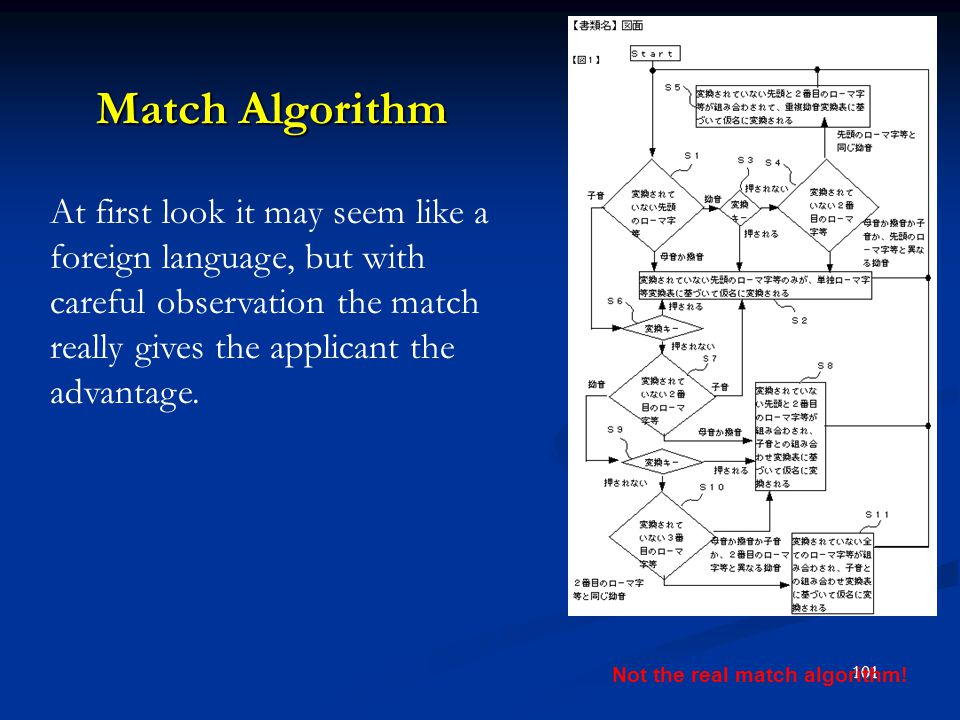 Not the real match algorithm!