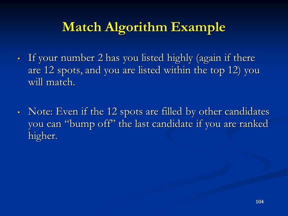 Match Algorithm Example