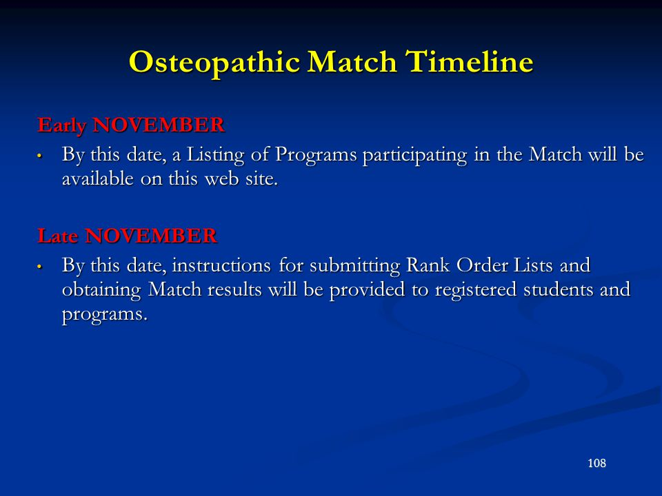 Osteopathic Match Timeline