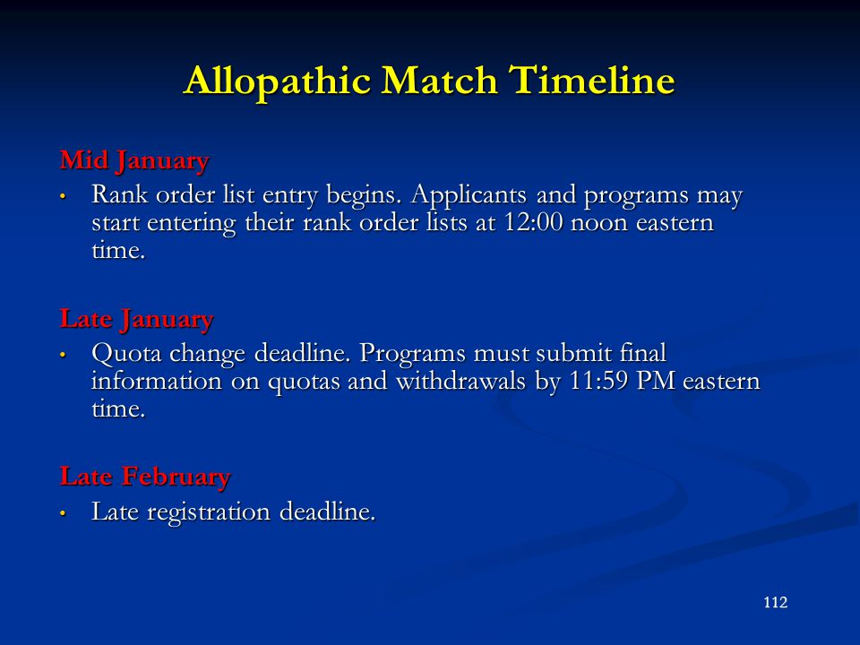 Allopathic Match Timeline