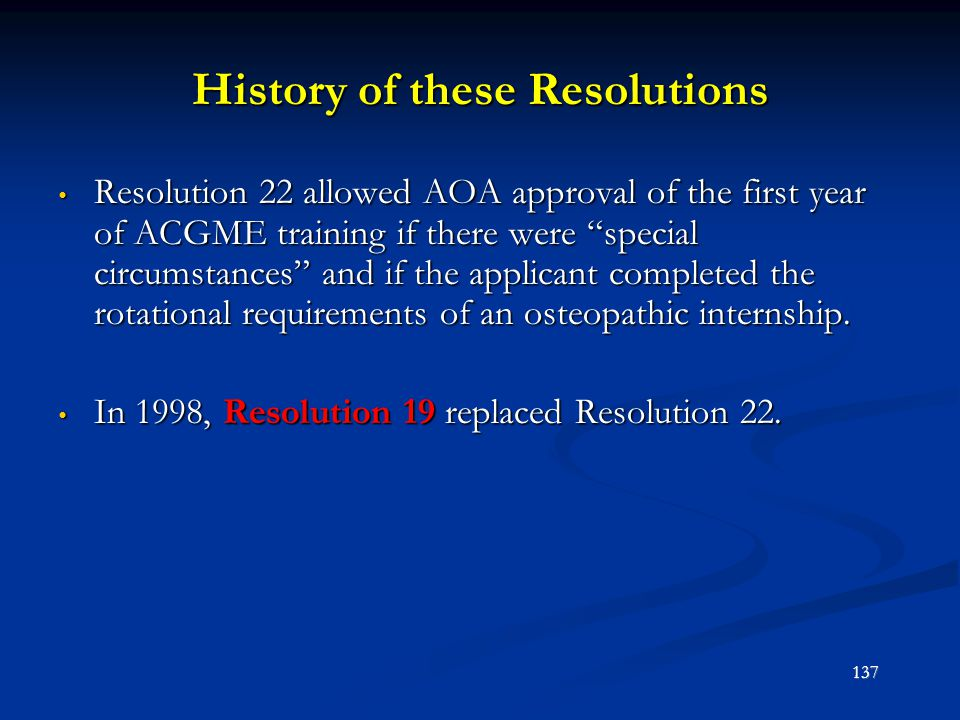 History of these Resolutions