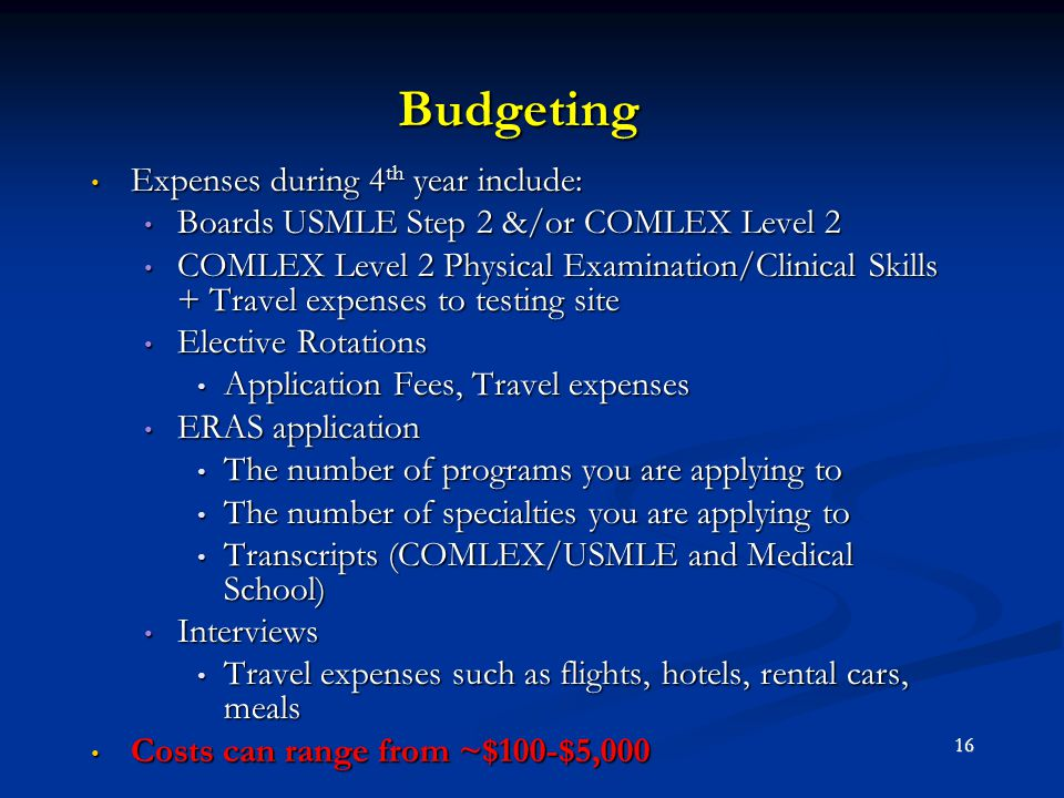 Budgeting Expenses during 4th year include:
