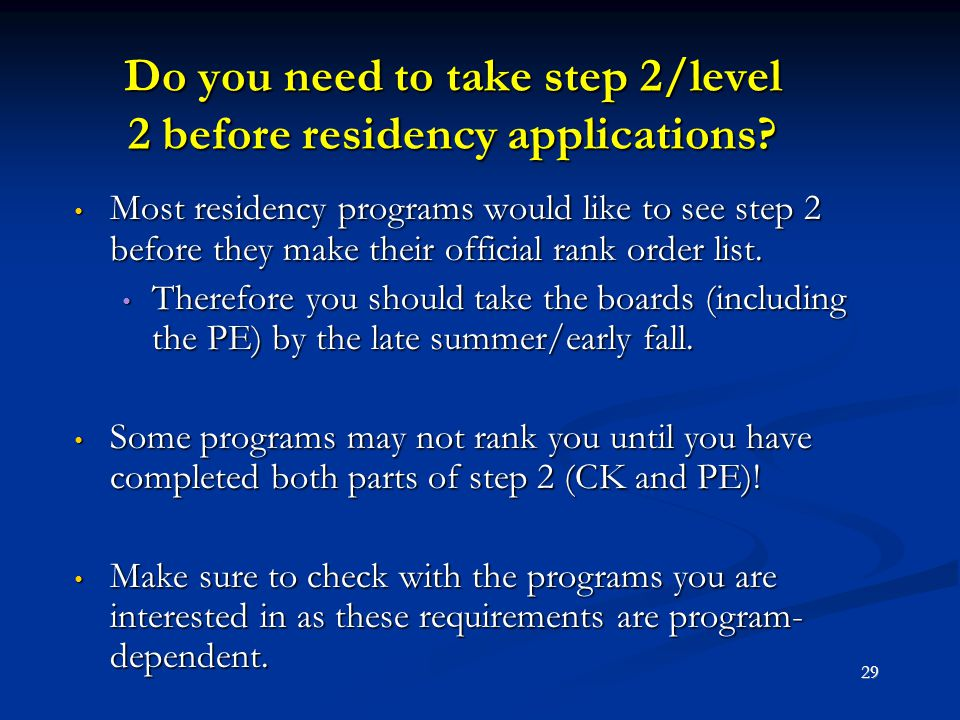 Do you need to take step 2/level 2 before residency applications