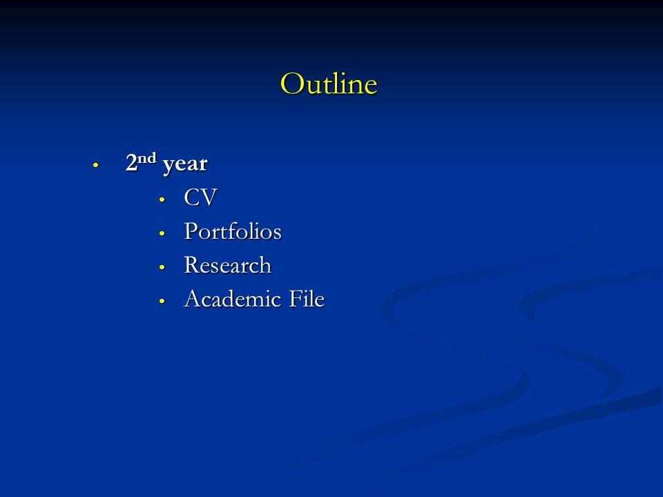 Outline 2nd year CV Portfolios Research Academic File