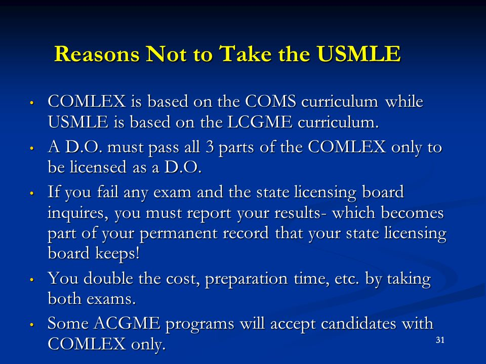 Reasons Not to Take the USMLE