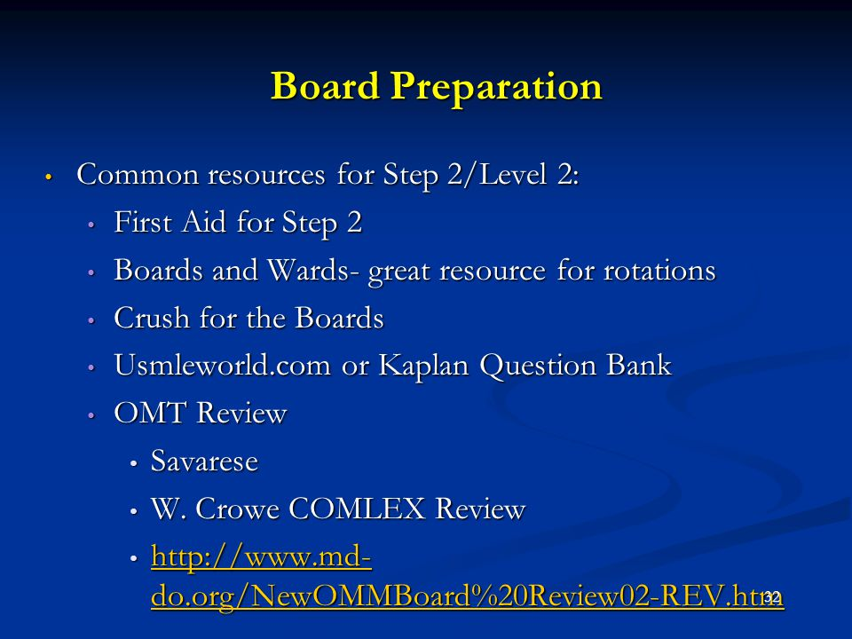Board Preparation Common resources for Step 2/Level 2: