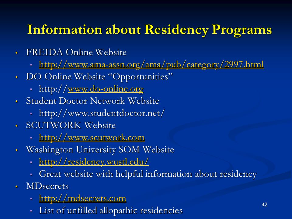 Information about Residency Programs