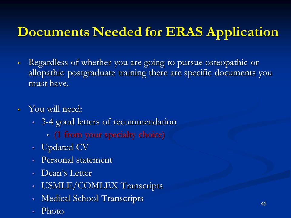 Documents Needed for ERAS Application