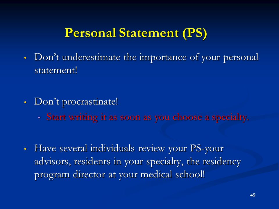 Personal Statement (PS)