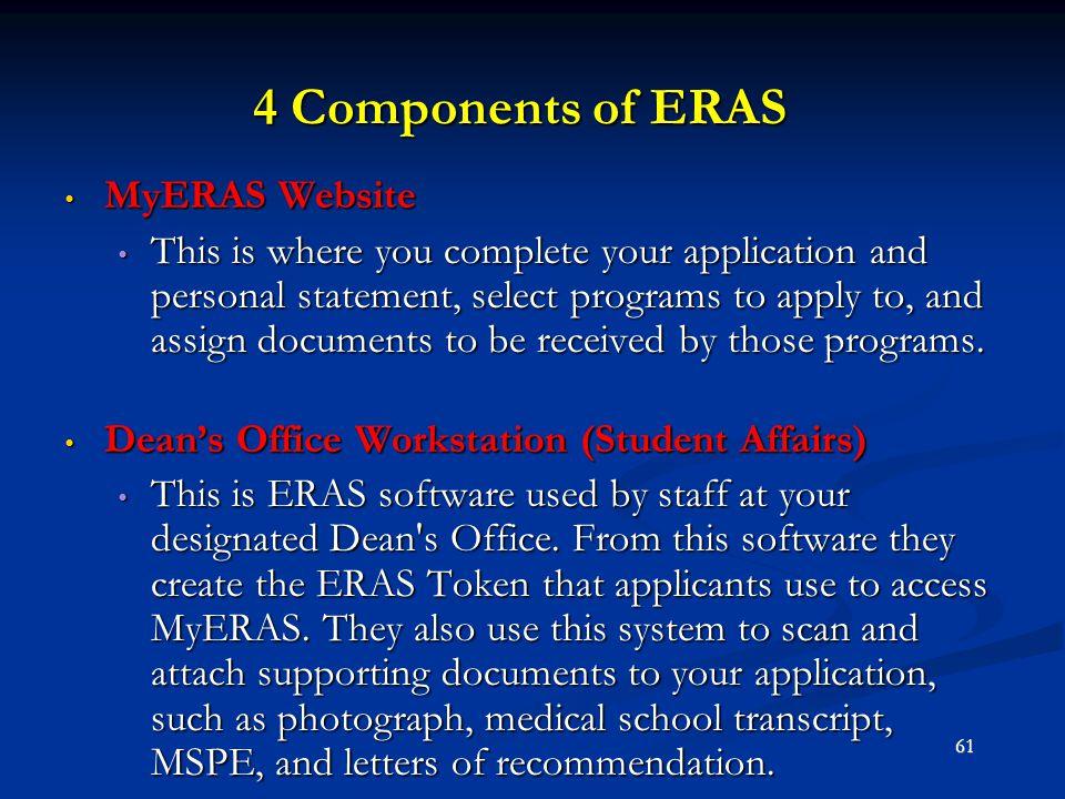 4 Components of ERAS MyERAS Website