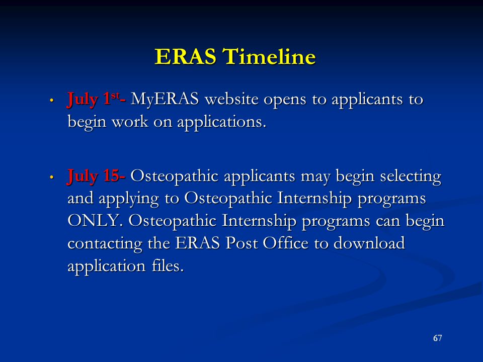 ERAS Timeline July 1st- MyERAS website opens to applicants to begin work on applications.