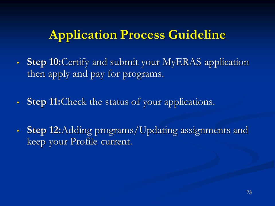 Application Process Guideline