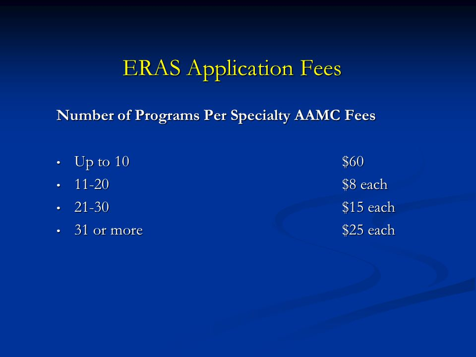 ERAS Application Fees Number of Programs Per Specialty AAMC Fees