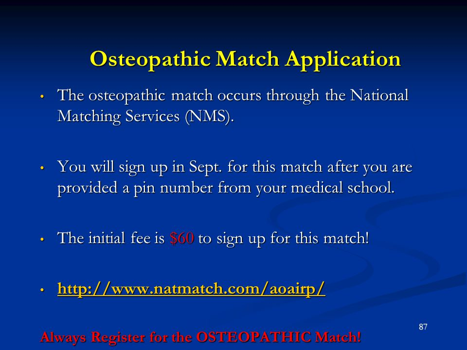 Osteopathic Match Application