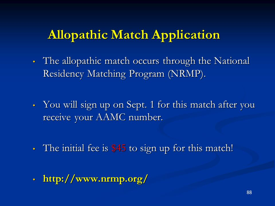Allopathic Match Application