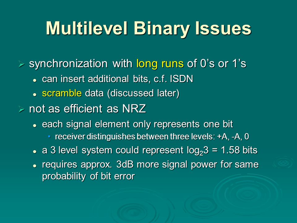 Multilevel Binary Issues