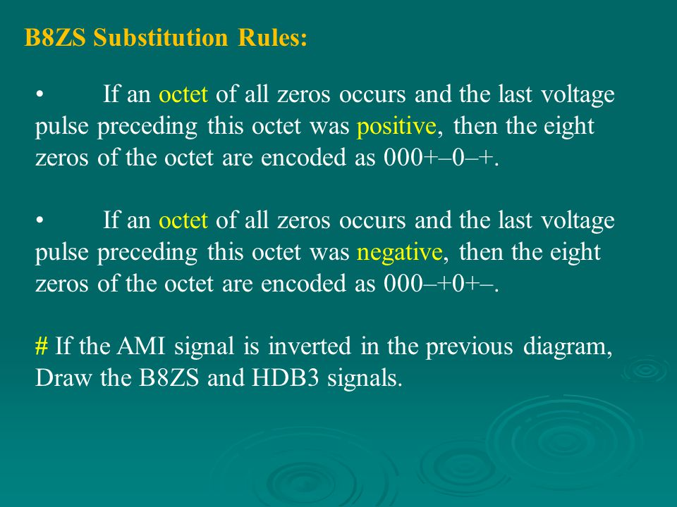 B8ZS Substitution Rules:
