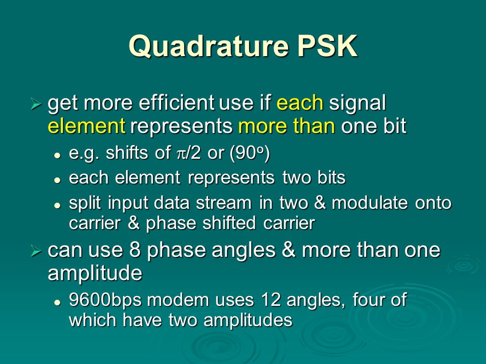 Quadrature PSK get more efficient use if each signal element represents more than one bit. e.g. shifts of /2 or (90o)