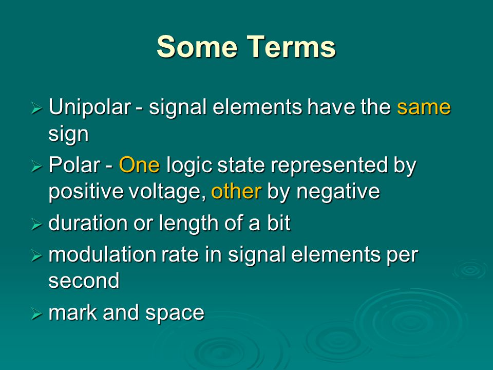 Some Terms Unipolar - signal elements have the same sign