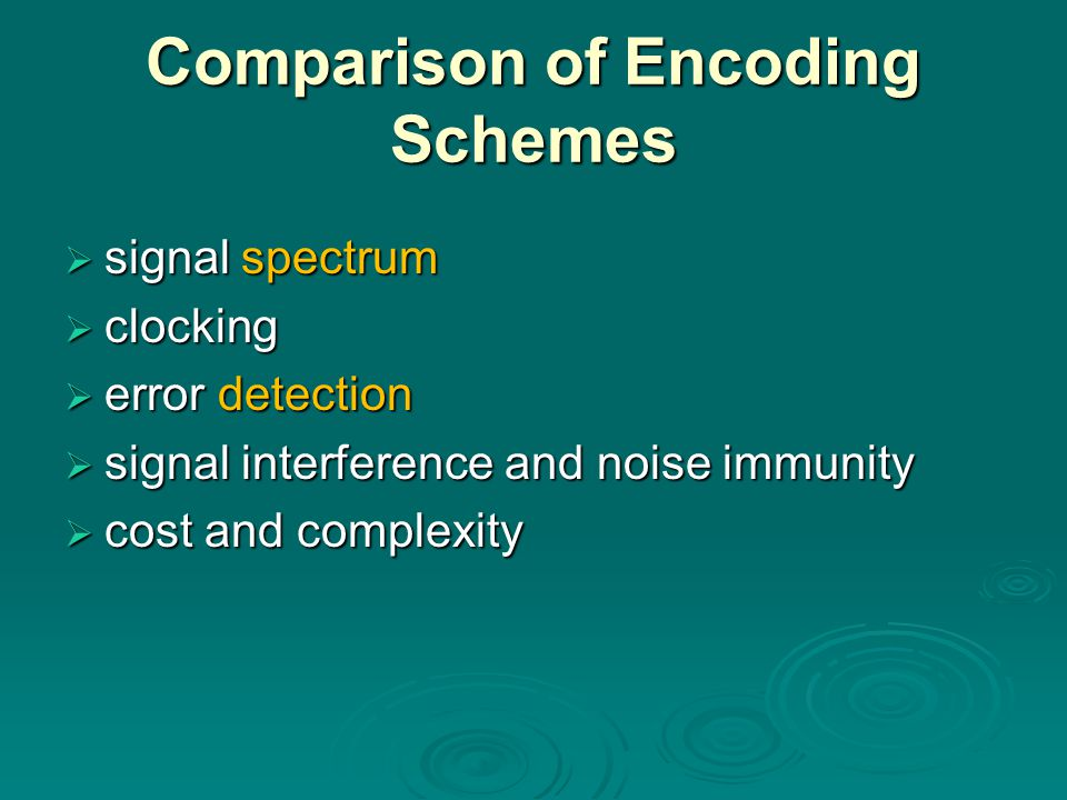 Comparison of Encoding Schemes
