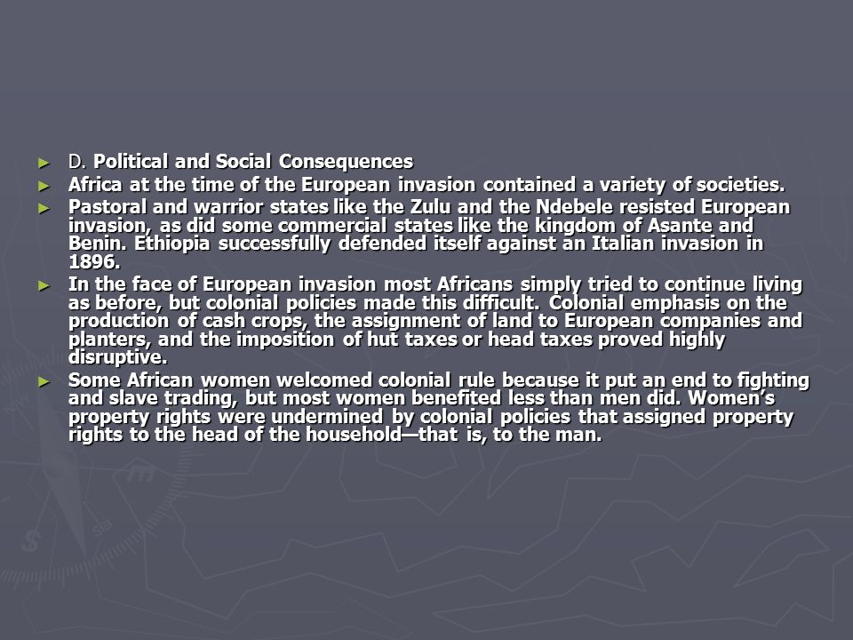 D. Political and Social Consequences