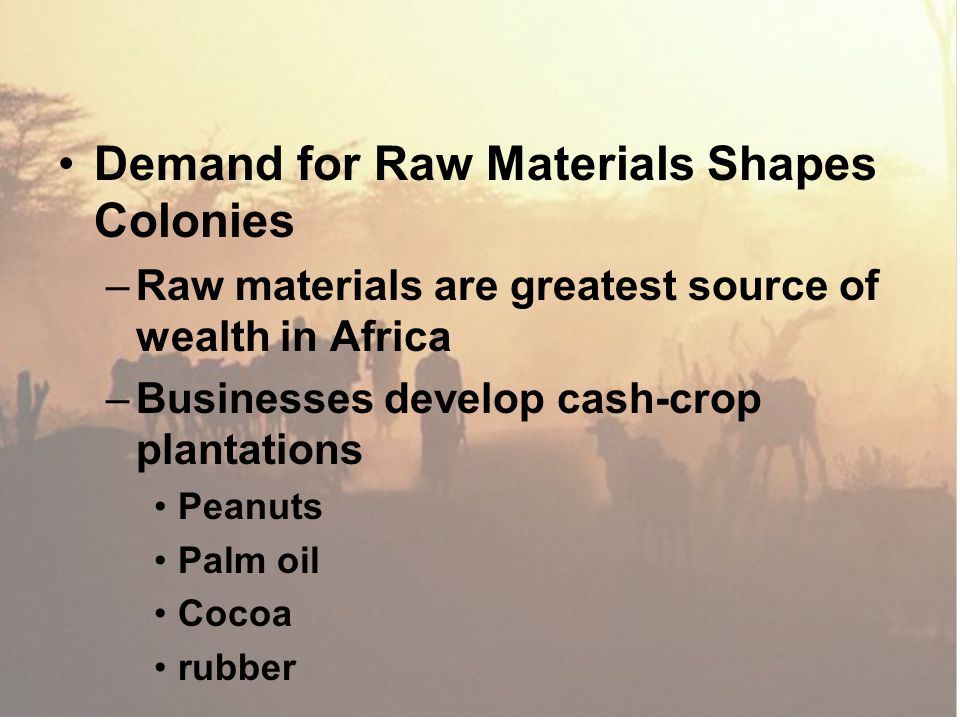 Demand for Raw Materials Shapes Colonies