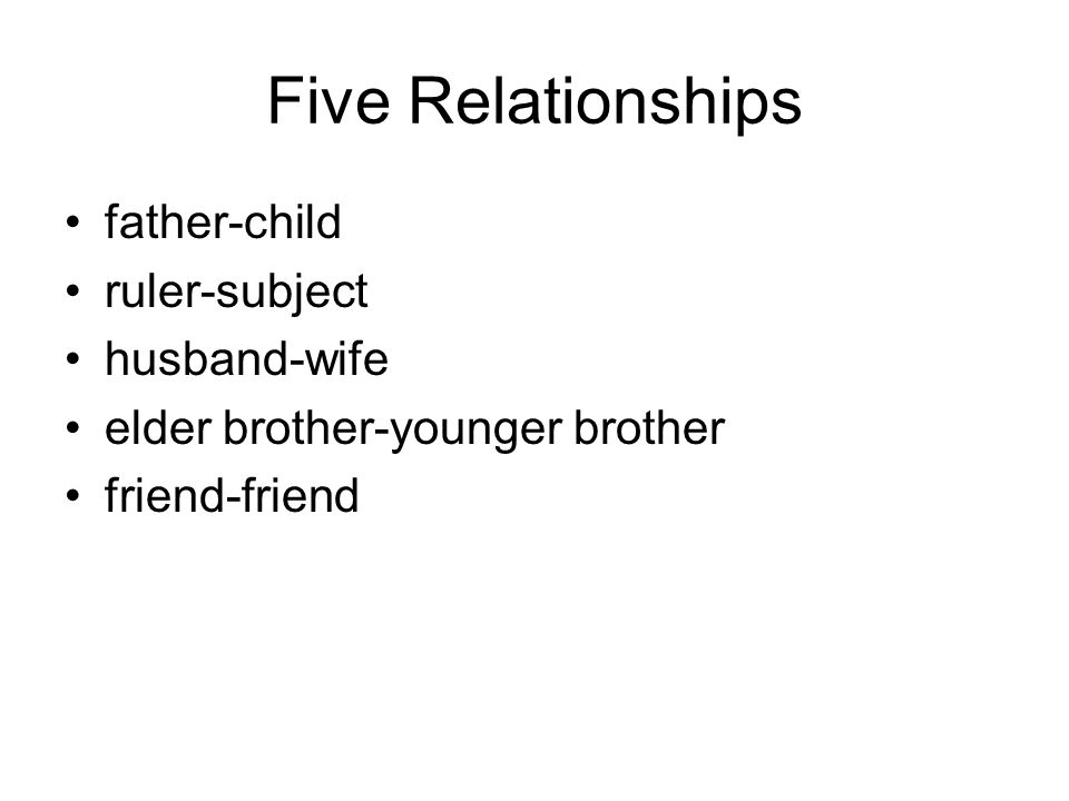 Five Relationships father-child ruler-subject husband-wife