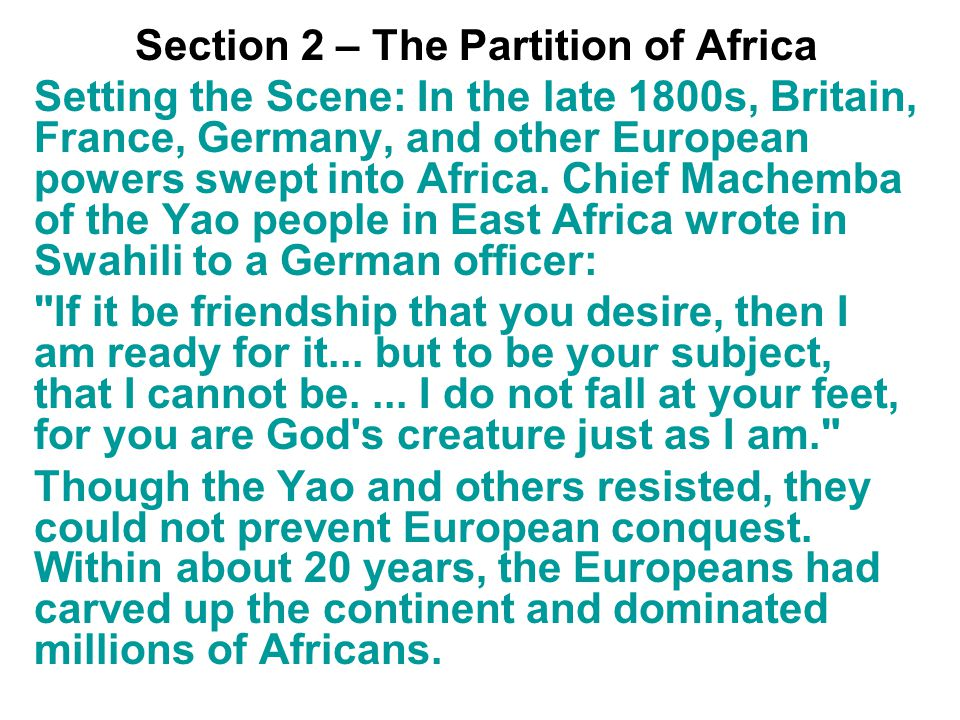 Section 2 – The Partition of Africa